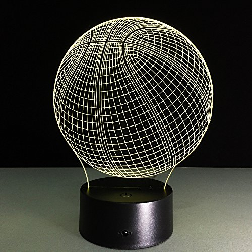 3D Lamp Basketball Round Shape, Ticent 7 Color Changing Night light Smart Touch Switch LED lighting Creative Gift Toys Decorations