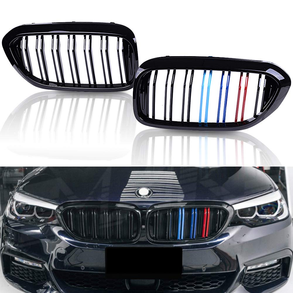 runmade Pair Front Grill Grille Gloss Black M Color For 2017 2018 BMW 5 Series G30 G38 M5 520i 530i 535i 540i 550i