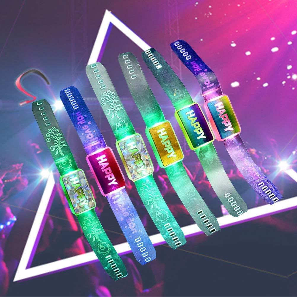 BESTOYARD Blinkende Armband Armband GL/ÜCKLICH Leuchtenden Hand Ring LED Armband Festival Geburtstag Party Zubeh/ör Halloween Weihnachtsfestbevorzugung 6 ST/ÜCKE zuf/ällige Farbe