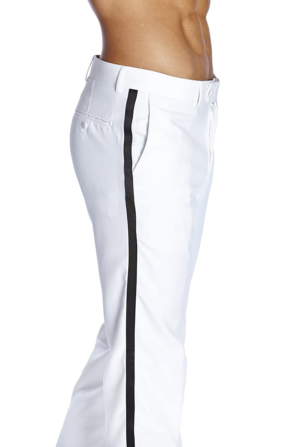 CONCITOR Men's TUXEDO Pants Flat Front with BLACK Satin Band Solid WHITE Color