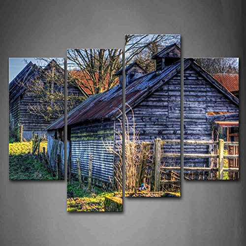 Barns Like Wooden Cabins Fence Bare Tree Fresh Lawn Wall Art Painting Pictures Print On Canvas City The Picture For Home Modern Decoration