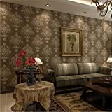 Wallpaper non-woven modern simple texture 3D solid color waterproof wallpaper decoration bedroom TV wall living room wallpaper -53 cm (W) 10 m(L), bronze