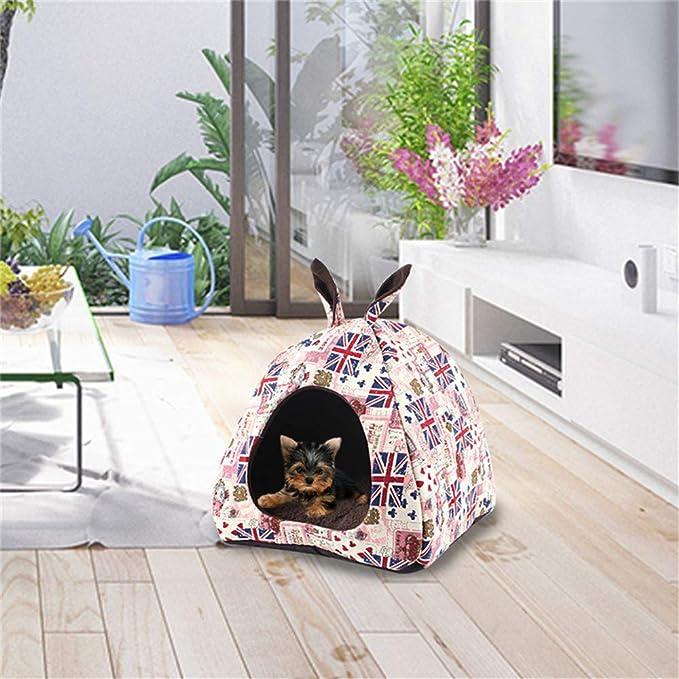 laamei - Tienda de campaña para Gatos, Cama para Mascotas Igloo para Perro, Gato, Cachorro, Suave y cálido, Cesta de cojín con Alfombra Plegable: Amazon.es: ...