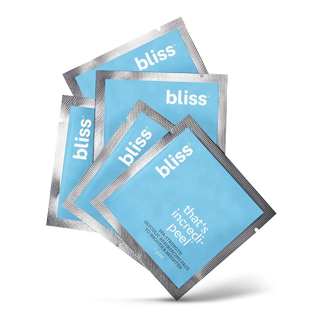 Bliss - That's Incredi-peel Glycolic Resurfacing Pads |Single-Step Pads for Exfoliating & Brightening| Vegan | Fragrance Free | Cruelty Free | Paraben Free | 5 ct.