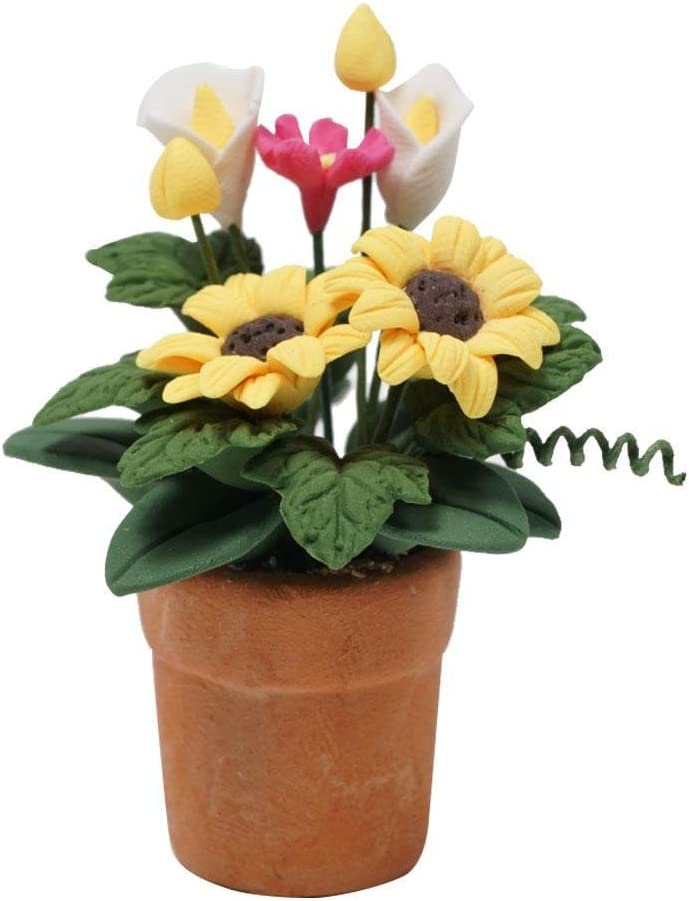 Dollhouse Miniature Christmas Poinsettia Flower In Pot 1:12 Scale 4cm US Seller