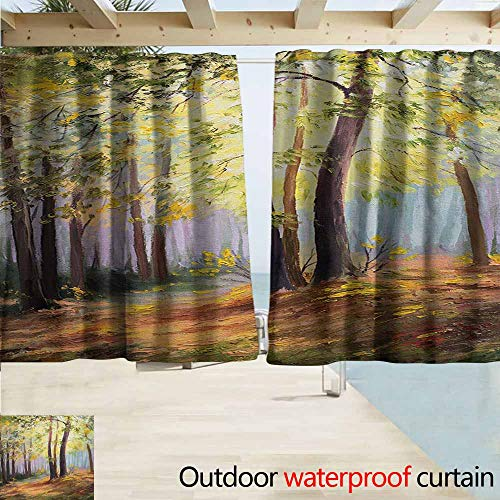 Zmcongz Country Outdoor Door Curtain Image of Spring Landscape in Forest with Falling Leaf and Various Trees Mod Print Waterproof Patio Door Panel W63 xL45 Brown Green