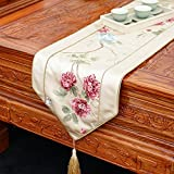 Embroidered Chinese Table Flag,Sleek,Exquisite Bed Tablecloth Table Flag-A 30x180cm(12x71inch)