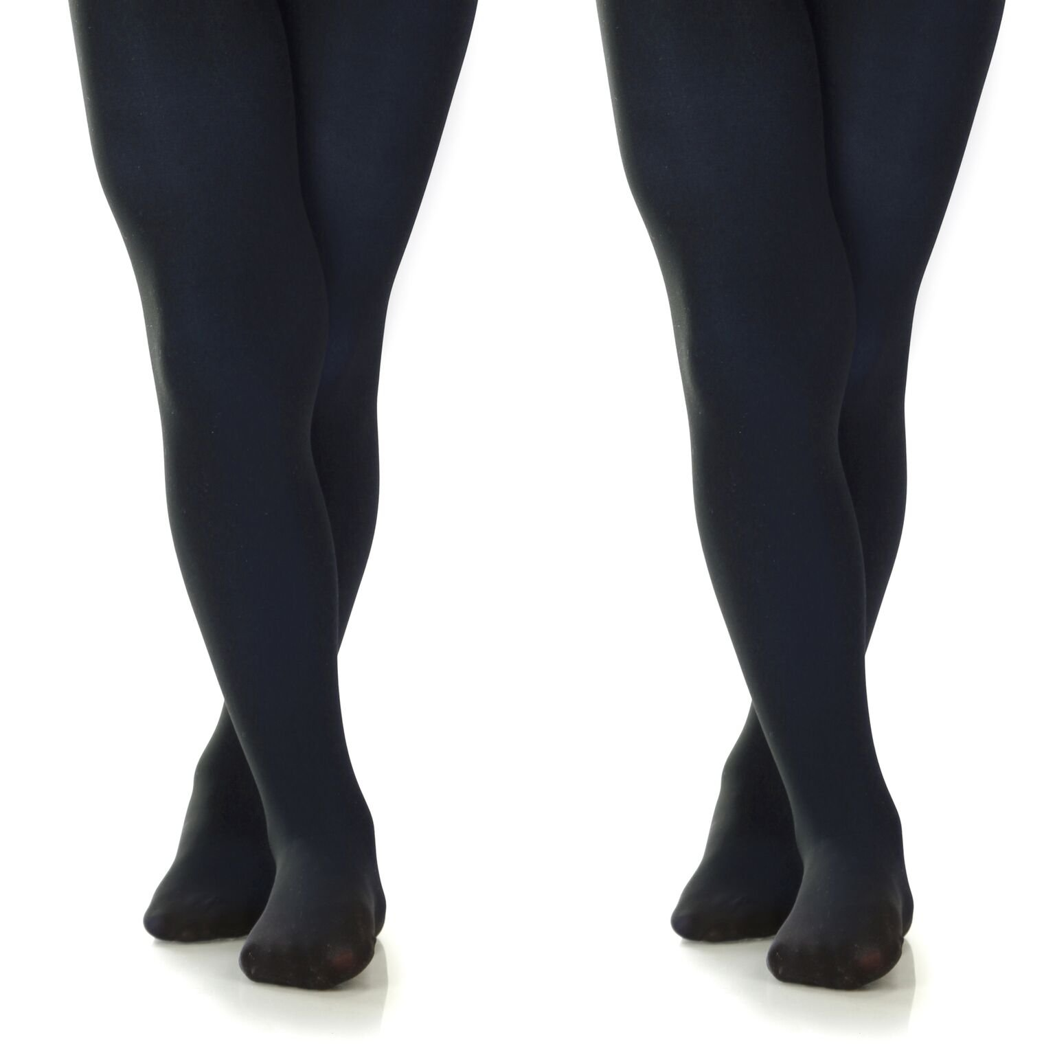 Silky Toes Girls' Microfiber Opaque Footed Tights- 2 Per Pack (Size: 6-8, Navy (2 Pairs))