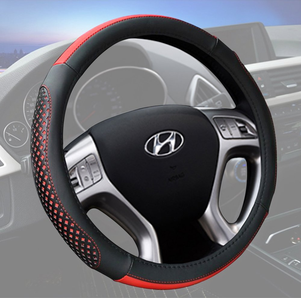 Car Steering Wheel Cover 15 Inch Microfiber Leather Universal Fashion Breathable Anti Slip Red