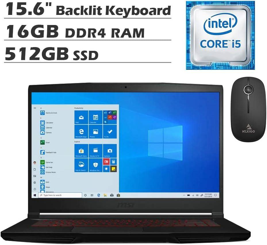 2020 Newest MSI GF63 15.6 Inch FHD 1080P Gaming Laptop| Intel Core i5-9300H up to 4.1GHz| GeForce GTX 1050 Ti 4GB| 16GB RAM| 512GB SSD| Backlit KB| Windows 10 + NexiGo Wireless Mouse Bundle