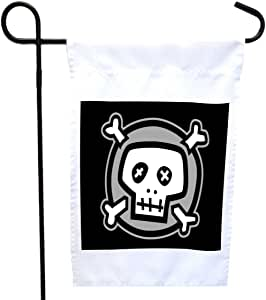 Rikki Knight Cartoon Skull and Bones House or Garden Flag with 11 x 11-Inch Image, 12 x 18-Inch