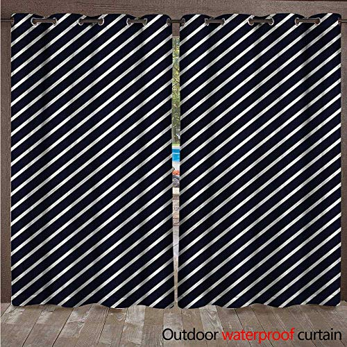 cobeDecor Navy Outdoor Ultraviolet Protective Curtains Diagonal Stripes Marine Theme W96 x L108(245cm x ()