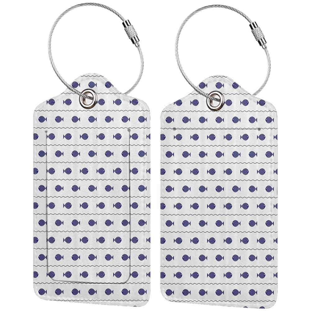 Decorative luggage tag Nautical Decor Fishes Swimming in the Wavy Lines Sea Cute Baby Shower Marine Modern Graphic Suitable for travel Navy Blue W2.7 x L4.6