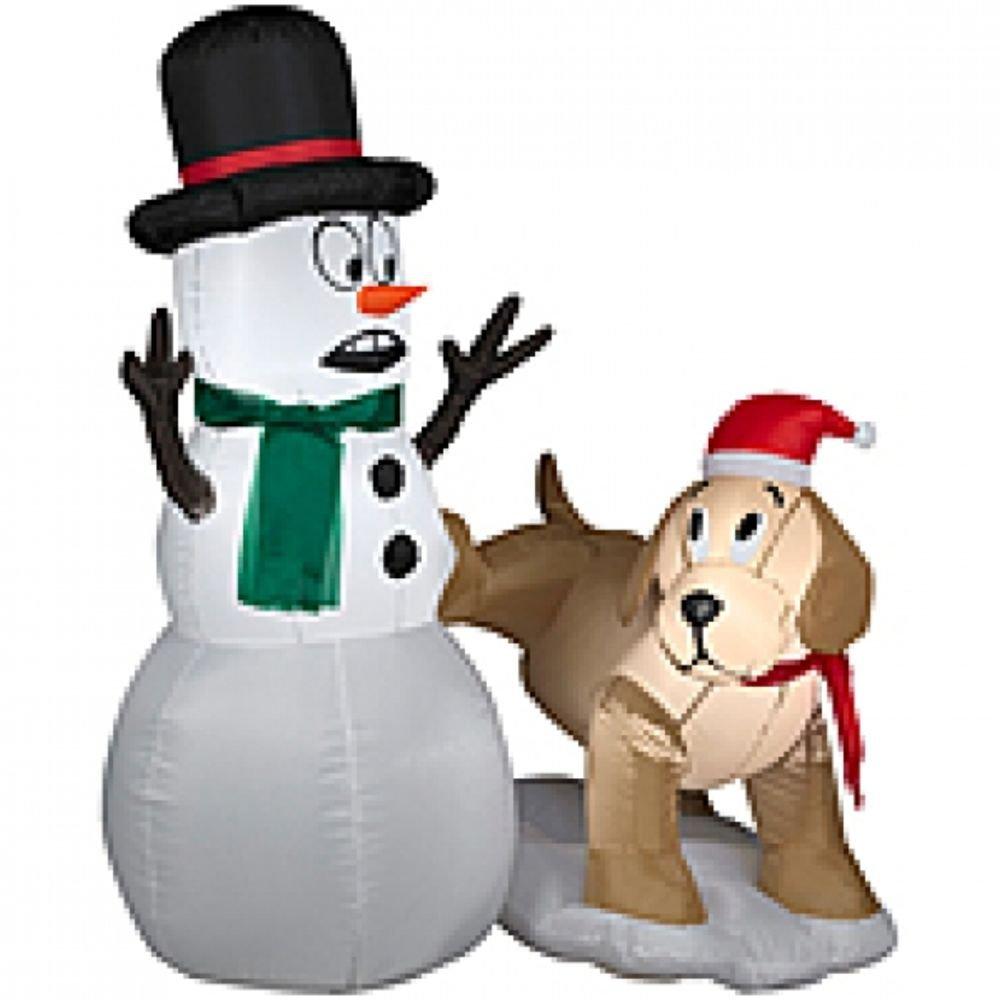 Gemmy Inflatables Holiday G08 87190 Air Blown Golden Retriever Snowman Scene Decor