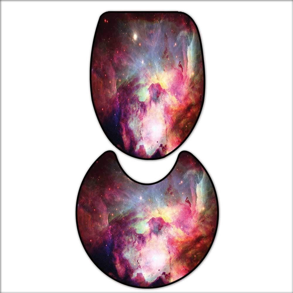 qianhehome Lid Toilet Cover Image of Magical Gas Cloud Nebula in Outer Space with Light Galaxy Solar Zone Print Purple Red. Personalized Durable 17''x21''-D24