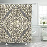 Emvency Fabric Shower Curtain with Hooks Gray Arabesque Oriental Classic Golden Abstract Yellow Floral Moroccan Arab Arabian 60''X72'' Decorative Bathroom Treated to Resist Deterioration by Mildew