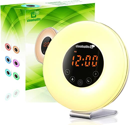 Wake-Up Light Alarm Clock With Sunrise Simulation FM Radio Sounds colors 2 PC