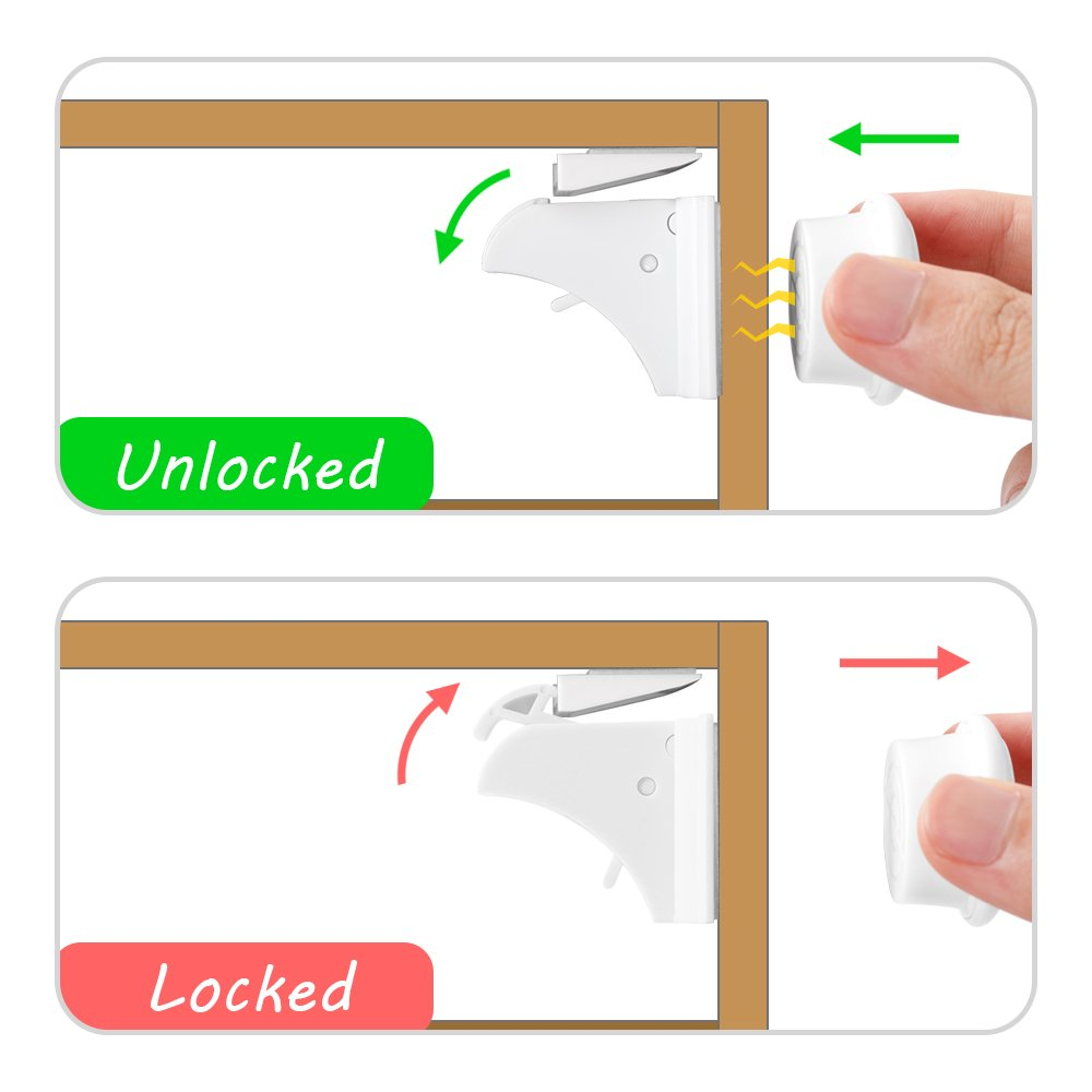 Baby Safety Magic Cupboard Locks Set 10 Locks+2 Keys Strong Magnetic Adhesive Lock No Drilling No Tools and Screw Easy install for Cabinets and Drawers-White
