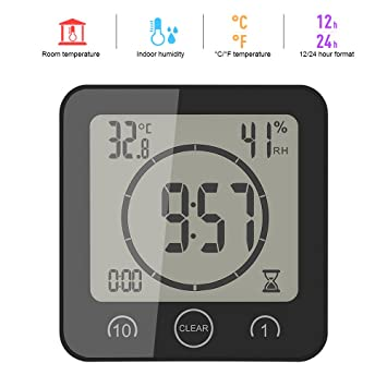 ALLOMN Reloj de humedad de temperatura LCD, alarma de temporizador de control táctil, Reloj