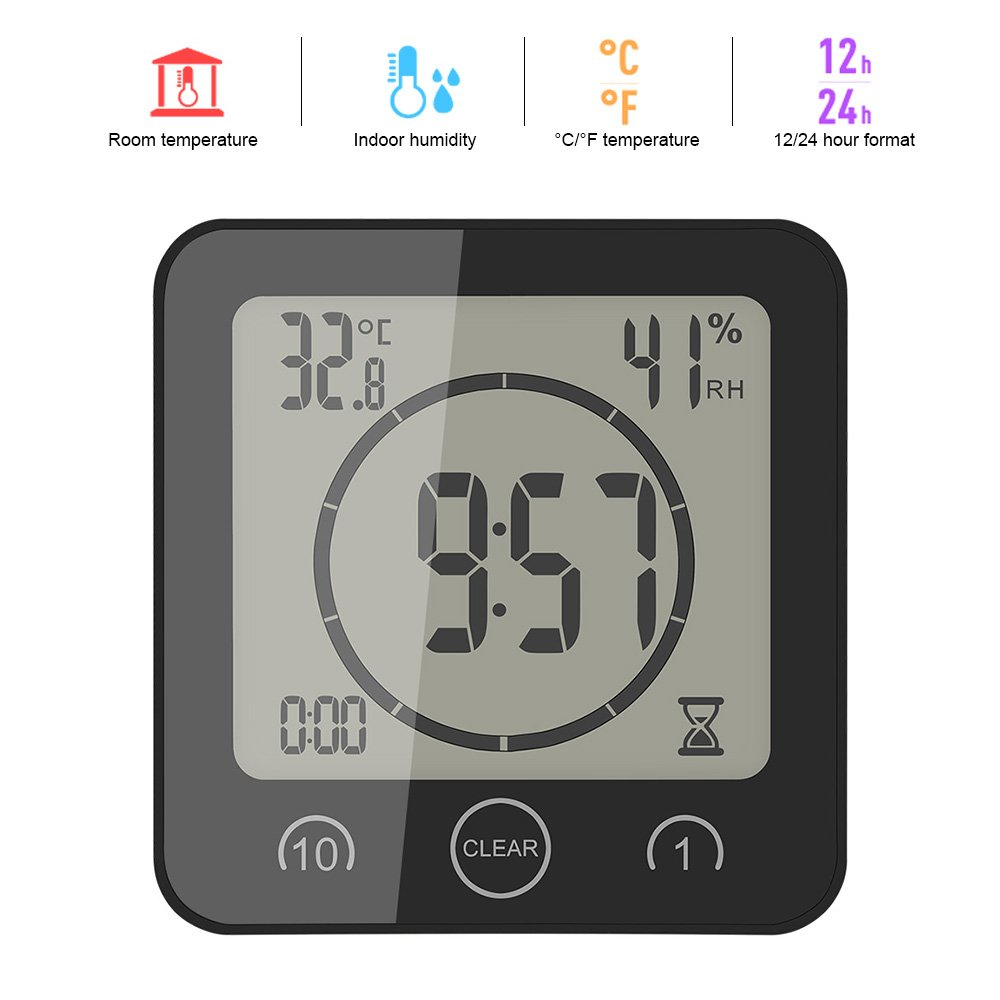 ALLOMN LCD Temperature Humidity Clock,Touch Control Timer Alarm,Waterproof Atomic Digital Wall Clock,Great Gift Choose for Various Festivals (Black)