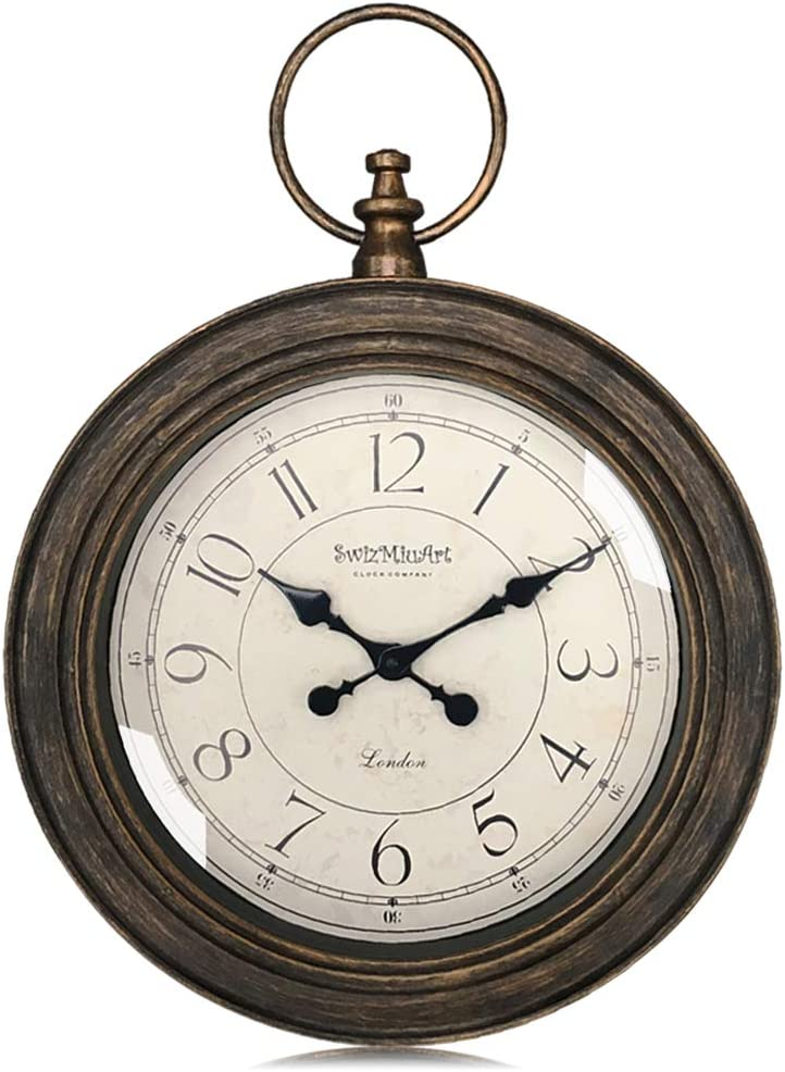 SwizMiuArt Pocket Watch Decorative Vintage Wall Clock Large 24 inch Silent Non Ticking Battery Operated for Living Room Bedroom Kitchen Office
