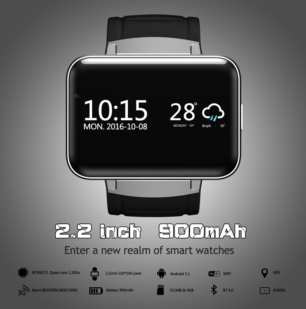 Amazon.com: Newest DM98 Android 4.4 Smart Watch Phone 2.2 ...