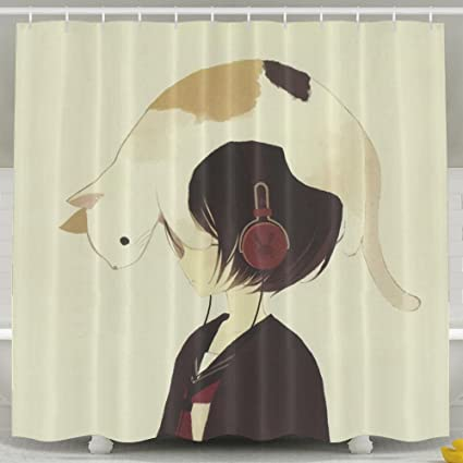 Lalamin Listen Music Girl Headphone With Cat Shower Curtain With 60 X 72  Inches Waterproof Bathroom