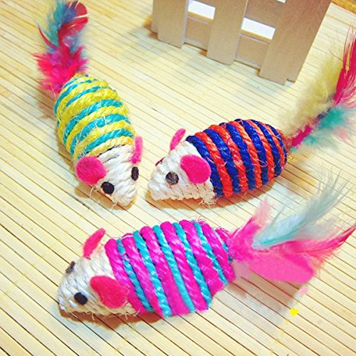 Sisal Rope Compiled From the Cute Pet Rat Playmate Funny Cartoon Feather Weave Mouse Cats Toy]()