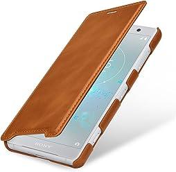 StilGut Book Type Case, Custodia per Sony Xperia XZ2 Compact a Libro Booklet in Vera Pelle