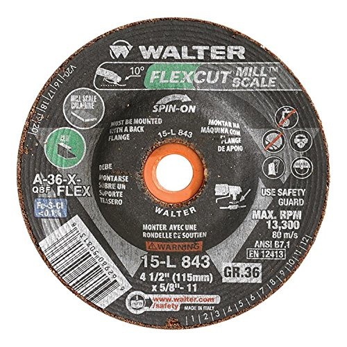 - Walter Flexcut Mill Scale Premium Performance Flexible Grinding Wheel, Threaded Hole, Aluminum Oxide, 4-1/2