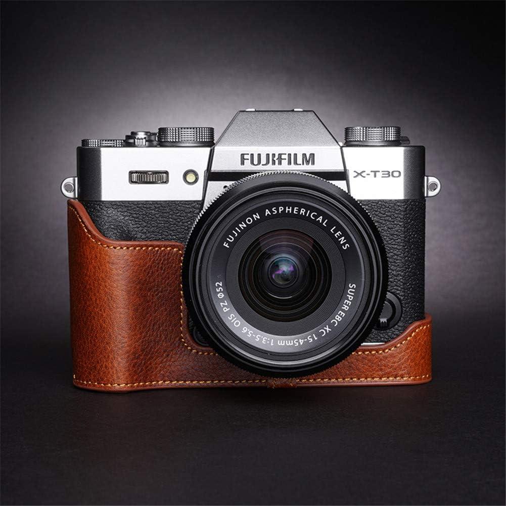 SYLL Bolsa de cámara de Cuero Hecha a Mano, Caja de Media cámara Inferior, Adecuada para Funda Protectora Fuji XT30, X-T20, XT10,Lava Brown