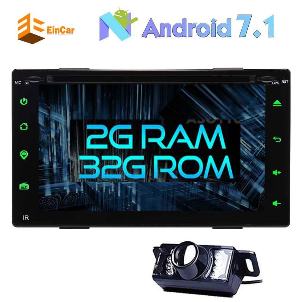 Bluetoothサポートのステアリングホイール/OBD2/無線LAN/FMラジオ付きダッシュGPSナビゲーションで無料バックアップカメラ+ピュアアンドロイド7.1カーステレオダブルディンは6.2「」容量性タッチスクリーン車のDVDプレーヤー B077TDXHKK