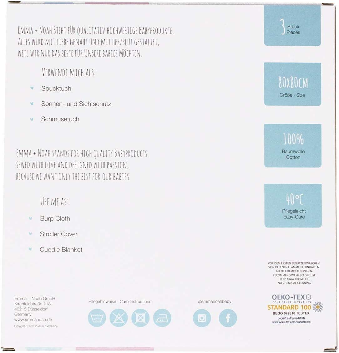 doudou paquete de 3 pa/ños de mulet/ón Muselinas para beb/és de emma /& noah con OEKO-TEX pa/ños de muselina suaves para beb/é,ideal como pa/ñales de tela 100/% algod/ón mantas de lactancia 80x80 cm