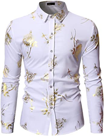 Jinyuan Mens Hipster Gold Rose Shirt Hombres Floral Print Luxury Slim Manga Larga Hombre Camisas de Vestir Negro Blanco L
