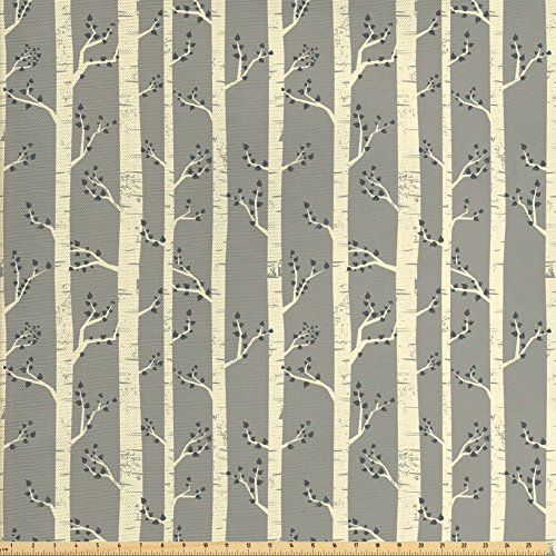 Ambesonne Grey Fabric by The Yard, Birch Tree Branches Vintage Bohemian Contemporary Illustration of Nature, Decorative Fabric for Upholstery and Home Accents, Warm Taupe Pale ()