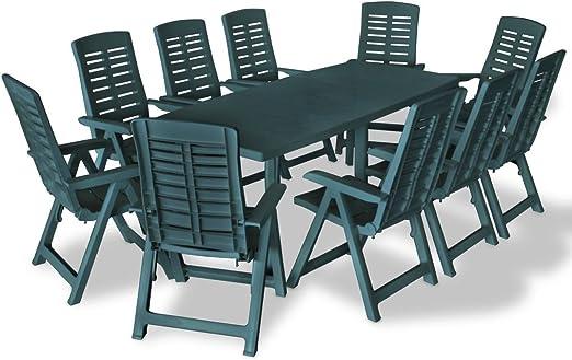 honglianghongshang Muebles de jardín Conjuntos de jardínJuego de Comedor de jardín 11 Piezas plástico Verde: Amazon.es: Hogar
