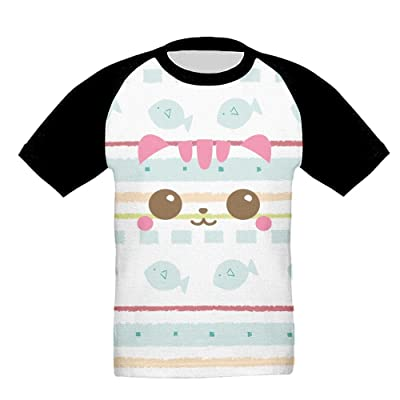 Cartoon Cat Baby Girls Classic Short Sleeve Shirts