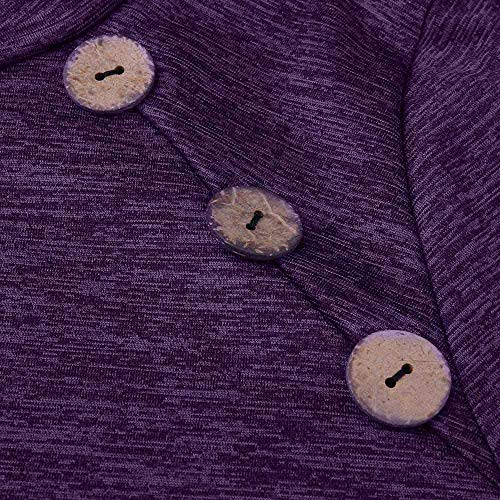 Couture Hauts Tonsee Tunique Chemisier dcontracte Manches Chemise Daily Violet Poche Fluide Chemise Longues Femme SqPfqI