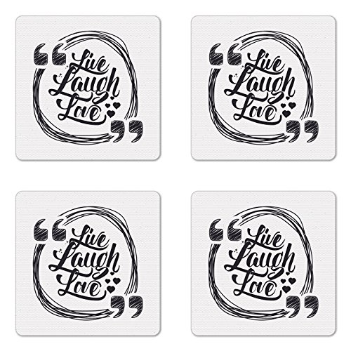 Ambesonne Live Laugh Love Coaster Set of Four, Grunge Stylized Modern Lifestyle Phrase Happiness Themed Design, Square Hardboard Gloss Coasters for Drinks, Pearl and Dark Grey