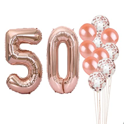 50th Birthday Decorations Party Supplies50th Balloons Rose GoldNumber 50 Mylar Balloon