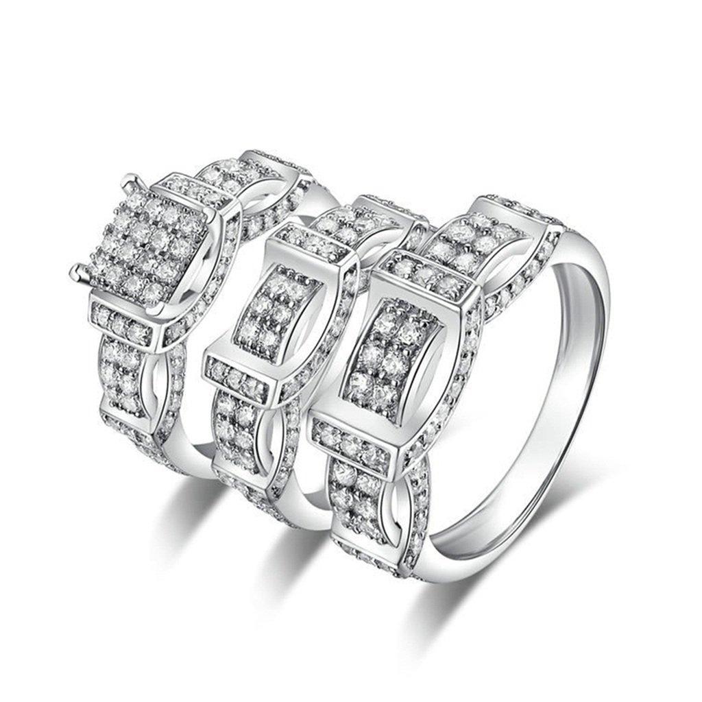 Epinki 925 Sterling Silver Men'S Ring Wedding Rings Engagement Rings Belt Cubic Zirconia Ring Set Size 11