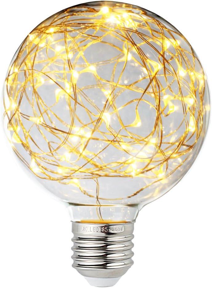 Judy Lighting - LED Globe Fairy Light Bulb for Ambient Night Lighting, E26 Standard Medium Base Edison with Starry Decorative String Lights for Bathroom, Bedroom, Living Room (Warm White)