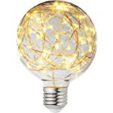 Judy Lighting - LED Globe Fairy Light Bulb for Ambient Night Lighting, E26 Standard Medium Base Edison with Starry Decorative String Lights for Bathroom, bedroom, Living room (Warm White)