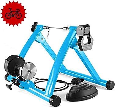 Magnética Turbo Trainer - Entrenador magnética Bicicleta pie, con 6 niveles de velocidad del alambre control Ajustador - Indoor Bike Trainer Soporte - Reducción ruido, y la rueda delantera Riser,A: Amazon.es: Deportes