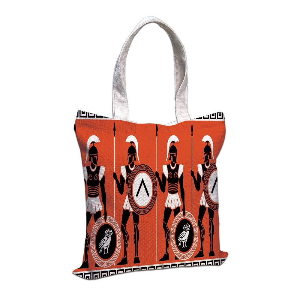 7b4a05fc3d Cotton Linen Tote Bag, Toga Party,Artistic Historical Warrior Figures in  Ancient Greece Military Theme,Orange Black White,for Shopping Camping  School Casual ...