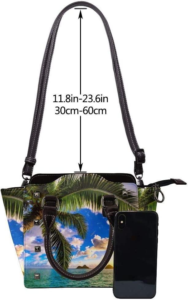 GHUJAOOHIJIO Beautiful Sunrise Ocean Womens Rivet PU Leather Tote Bag Shoulder Bag Purse