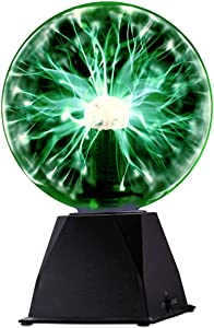 Kicko Green Plasma Ball - 7 Inch - Nebula, Thunder Lightning, Plug-in - for Parties, Decorations, Prop, Kids, Bedroom, Home