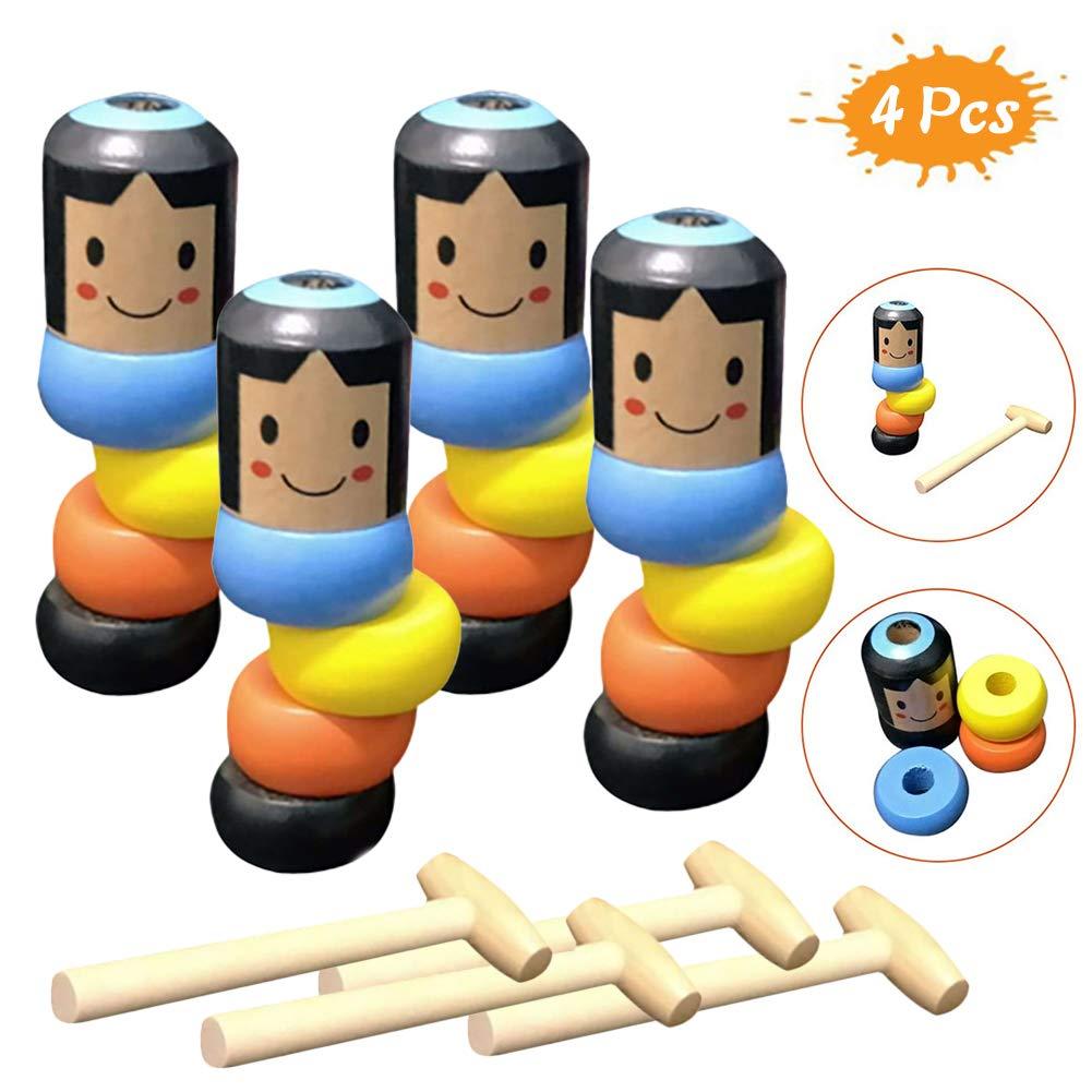 4Pack Unbreakable Wooden Man Magic Toy, Immortal Daruma Stubborn Wood Man Magic Tricks Props Toys Children Kids Easy Doing Gift Halloween Christmas by Moonase