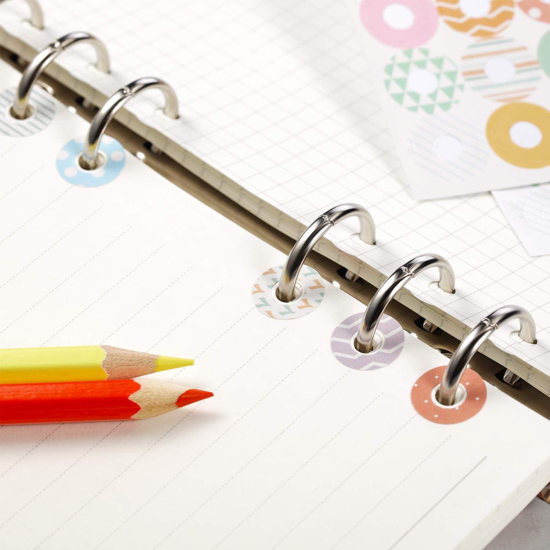 verschiedene Donut-Designs Selbstklebendes Set mit losen Bl/ättern zur Verst/ärkung von Papier ideal f/ür Schule Zuhause und B/üro Style E