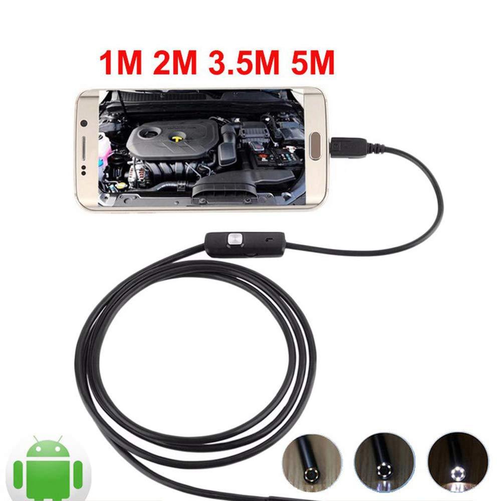 ZHXHX Videocamera Portatile Android Endoscopio di rilevamento Android Mini Fotocamera Otoscopio Industriale HD Video Impermeabile Endoscopio Flessibile Fotocamera USB 1 Meter Cord